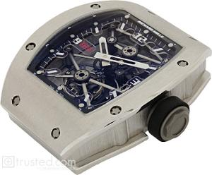 Richard Mille RM 012 Tourbillon Watch 512.48.91: This platinum watch with black trim features manual winding tourbillon movement with hours, minutes, power reserve indicator, torque indicator and function selector. Also available in red gold, white gold and platinum.