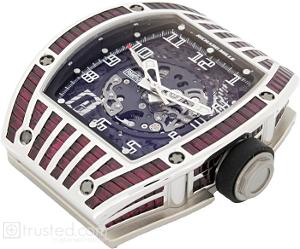 Richard Mille RM 010 Automatic Watch 509.064.91: This white gold watch with ruby baguette bezel diamonds features skeletonized automatic movement with hours, minutes, seconds, date and adjustable rotor geometry. Also available in titanium, red and white gold.
