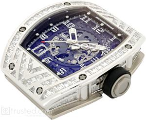 Richard Mille RM 010 Automatic Watch 509.067.91: This white gold watch with baguette bezel diamonds features skeletonized automatic movement with hours, minutes, seconds, date and adjustable rotor geometry. Also available in titanium, red and white gold.