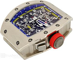 Richard Mille RM 008 - V2 Tourbillon Split Seconds Chronograph Watch 507.06D.91: This white gold watch with a red crown and a blue trimmed face features manual winding tourbillon movement with hours, minutes, chronograph, split seconds, power reserve, torque and function indicator. Also available in titanium, red and white gold.