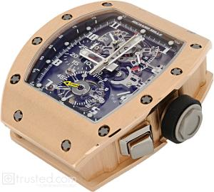 Richard Mille RM 008 - V2 Tourbillon Split Seconds Chronograph Watch 507.04.91: This rose pink gold watch features manual winding tourbillon movement with hours, minutes, chronograph, split seconds, power reserve, torque and function indicator. Also available in titanium, red and white gold.