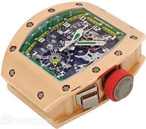 Richard Mille RM 008 - V2 Tourbillon Split Seconds Chronograph Limited Edition Watch 507.04D.91: This limited edition Rose, Pink ,Gold, Green, Yellow, and  Red Crown Trim Dial watch features manual winding tourbillon movement with hours, minutes, chronograph, split seconds, power reserve, torque and function indicator. Also available in titanium, red and white gold.