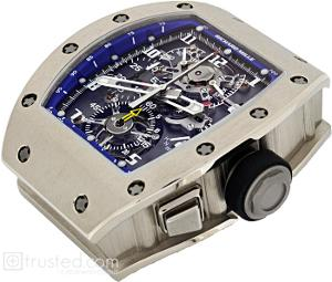 Richard Mille RM 008 - V2 Tourbillon Split Seconds Chronograph Watch 507.06.91: This white gold watch with a blue trimmed dial features manual winding tourbillon movement with hours, minutes, chronograph, split seconds, power reserve, torque and function indicator. Also available in titanium, red and white gold.