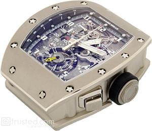 Richard Mille RM 008 - V2 Tourbillon Split Seconds Chronograph Limited Edition Watch 507.06C.91: This limited edition white gold watch features manual winding tourbillon movement with hours, minutes, chronograph, split seconds, power reserve, torque and function indicator. Also available in titanium, red and white gold.