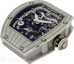 Richard Mille RM 015 Tourbillon Second Time Zone Watch 515.48.91: This platinum watch with blue trim features manual winding tourbillon movement with hours, minutes, second time zone, power reserve indicator, torque indicator and function selector. Also available in red gold, white gold and platinum.