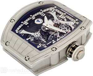 Richard Mille RM 014 Tourbillon Watch 514.48.91: This platinum watch with blue trim features manual winding tourbillon movement with hours, minutes, power reserve indicator, torque indicator and function selector. Also available in red gold, white gold and platinum.