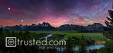 COLOURFUL NIGHT SKY ABOVE TETONS AND SNAKE RIVER, WYOMING, 2013 image