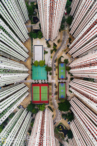 Aerial photograph of urban Hong Kong gives the impression of the city under a microscope.